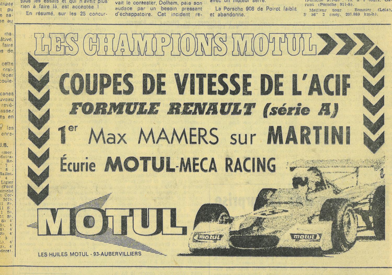 1972 - Publicité Motul d'époque